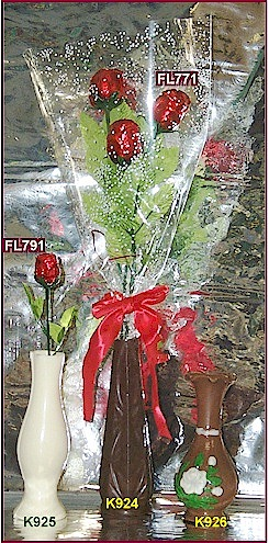 3D roses & vases all made in chocolate