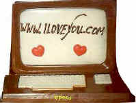 extra large computer with a love message on screen